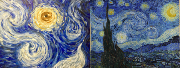 140 side by side CognEYEzant.NadiaCDM. Nadia Daniels-Moehle. Day One Hundred Forty.  Eye in the Sky Found in Darkness: inspired by Van Gogh's The Starry Night
